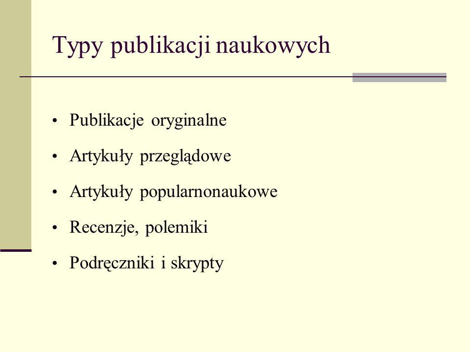 Typy publikacji naukowych