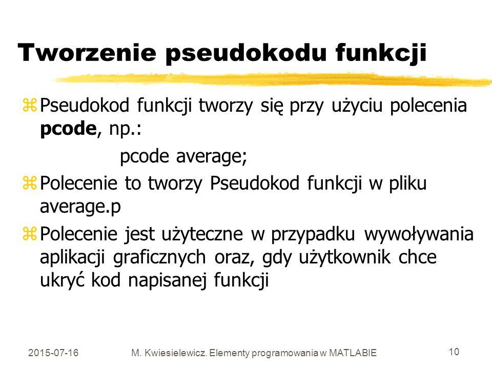 Tworzenie pseudokodu funkcji