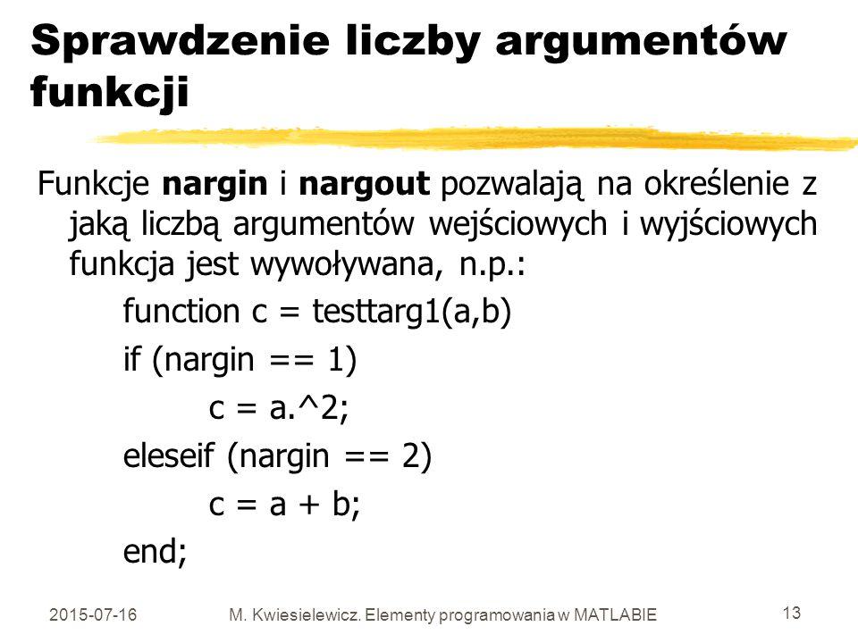 Sprawdzenie liczby argumentów funkcji