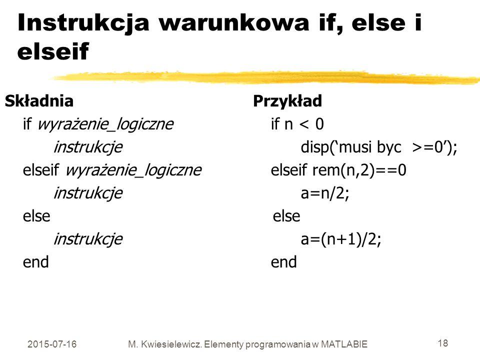 Instrukcja warunkowa if, else i elseif