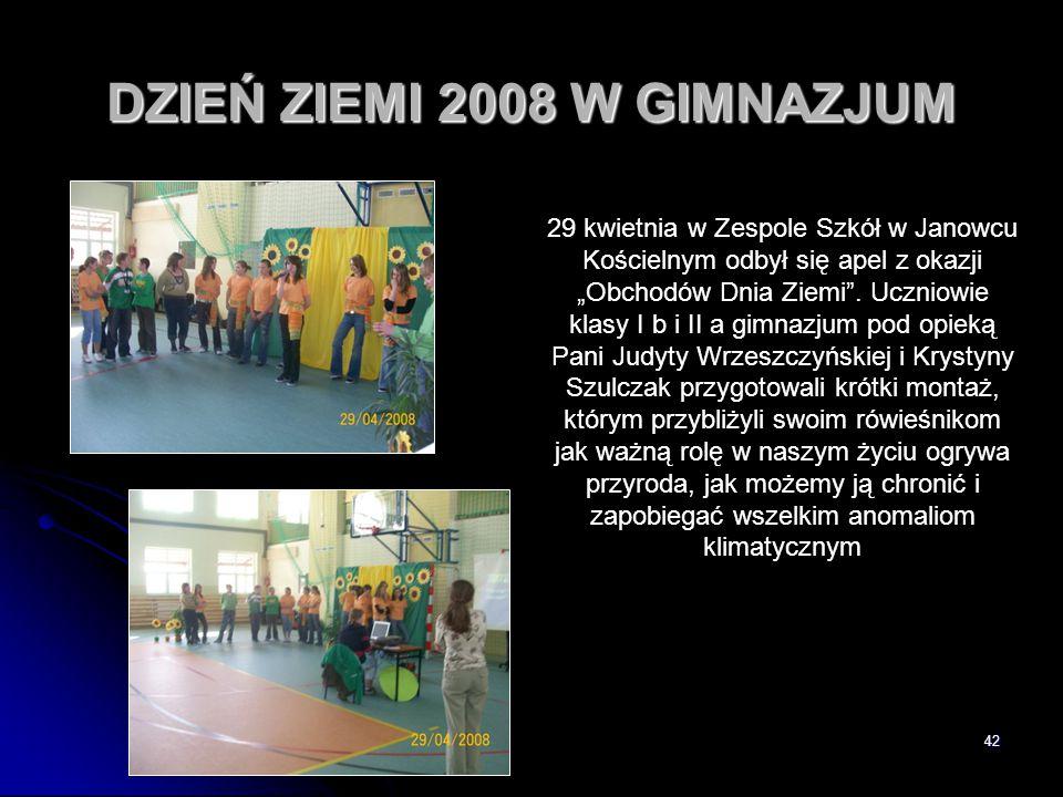 DZIEŃ ZIEMI 2008 W GIMNAZJUM