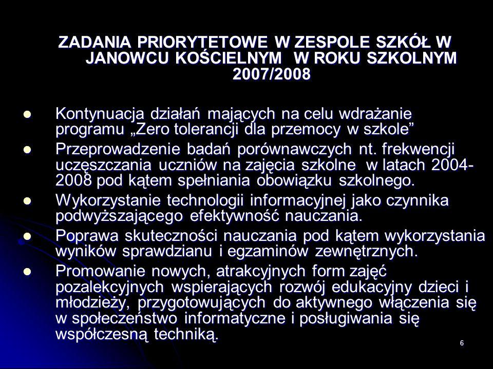ZADANIA PRIORYTETOWE W ZESPOLE SZKÓŁ W JANOWCU KOŚCIELNYM W ROKU SZKOLNYM 2007/2008
