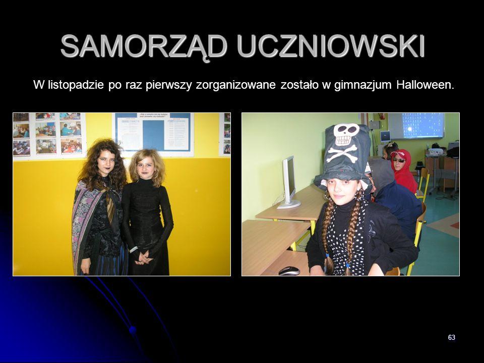 SAMORZĄD UCZNIOWSKI W listopadzie po raz pierwszy zorganizowane zostało w gimnazjum Halloween.