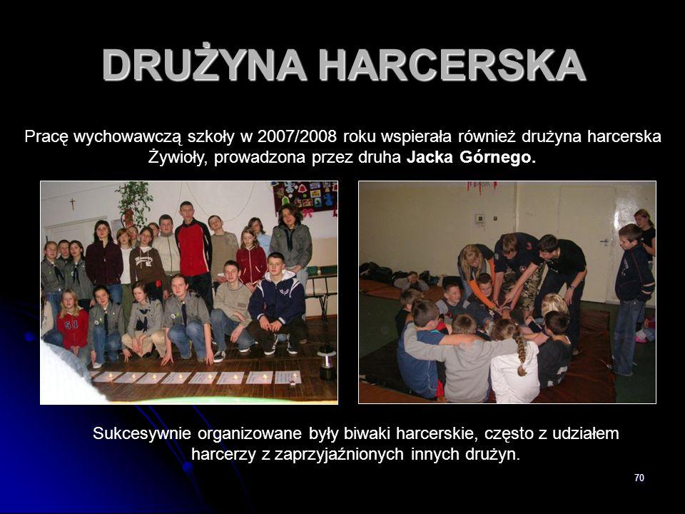 DRUŻYNA HARCERSKA Pracę wychowawczą szkoły w 2007/2008 roku wspierała również drużyna harcerska Żywioły, prowadzona przez druha Jacka Górnego.