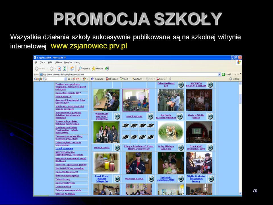 PROMOCJA SZKOŁY Wszystkie działania szkoły sukcesywnie publikowane są na szkolnej witrynie internetowej www.zsjanowiec.prv.pl.