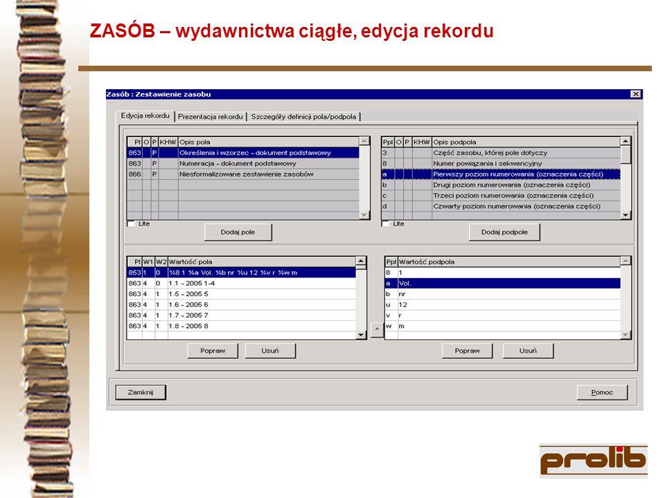 ZASÓB – wydawnictwa ciągłe, edycja rekordu