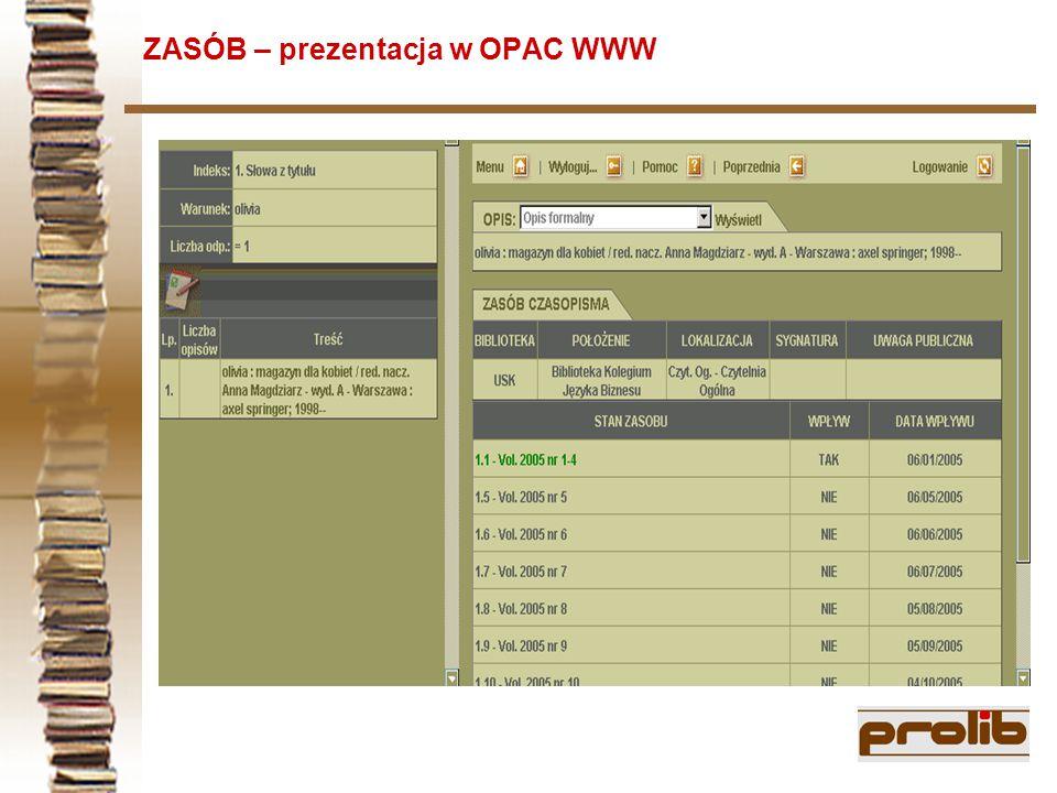 ZASÓB – prezentacja w OPAC WWW