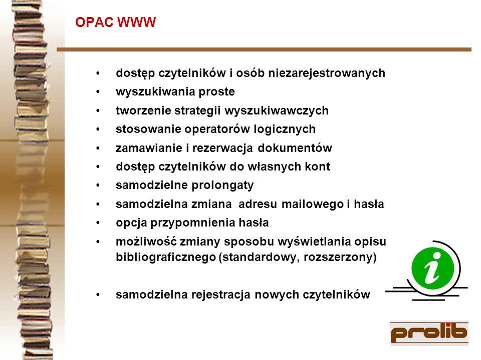 OPAC WWW dostęp czytelników i osób niezarejestrowanych