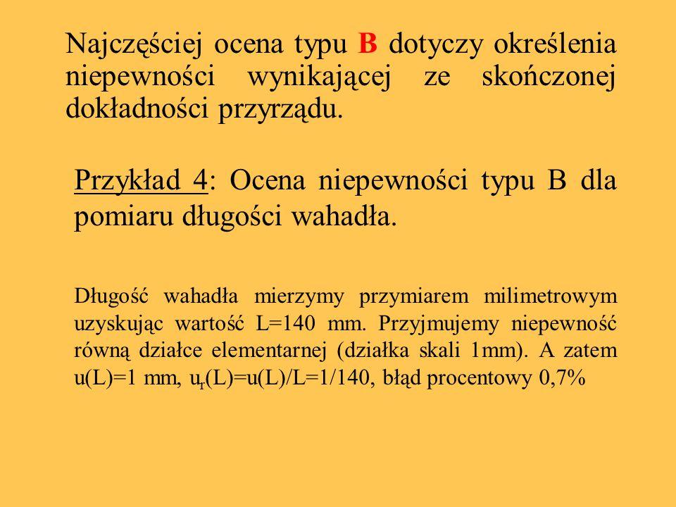 Przykład 4: Ocena niepewności typu B dla pomiaru długości wahadła.