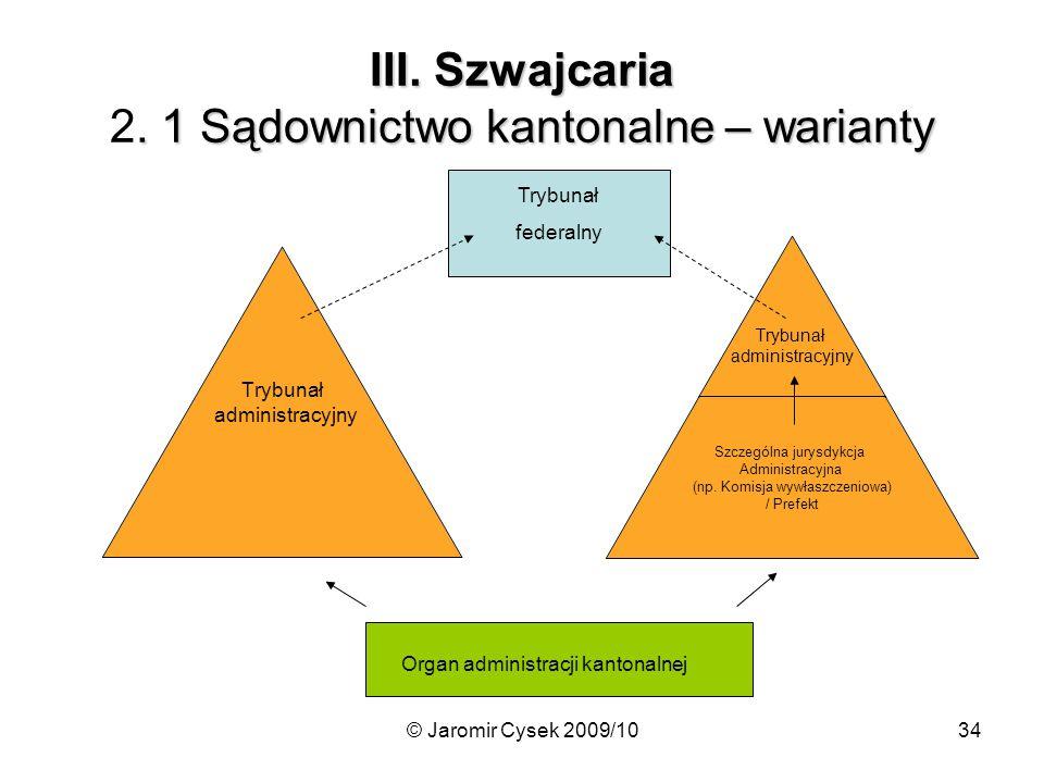 III. Szwajcaria 2. 1 Sądownictwo kantonalne – warianty