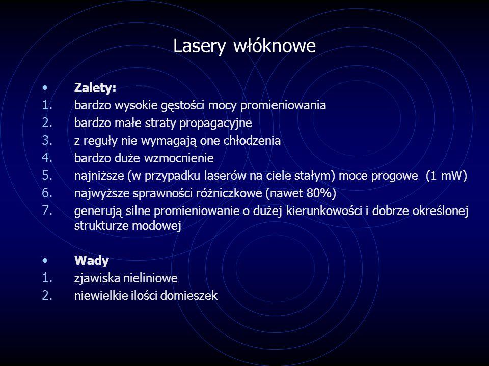 Lasery włóknowe Zalety: bardzo wysokie gęstości mocy promieniowania