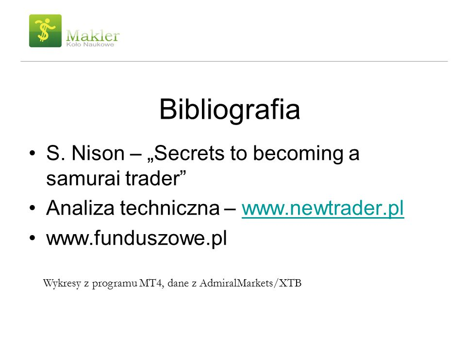 "Bibliografia S. Nison – ""Secrets to becoming a samurai trader"