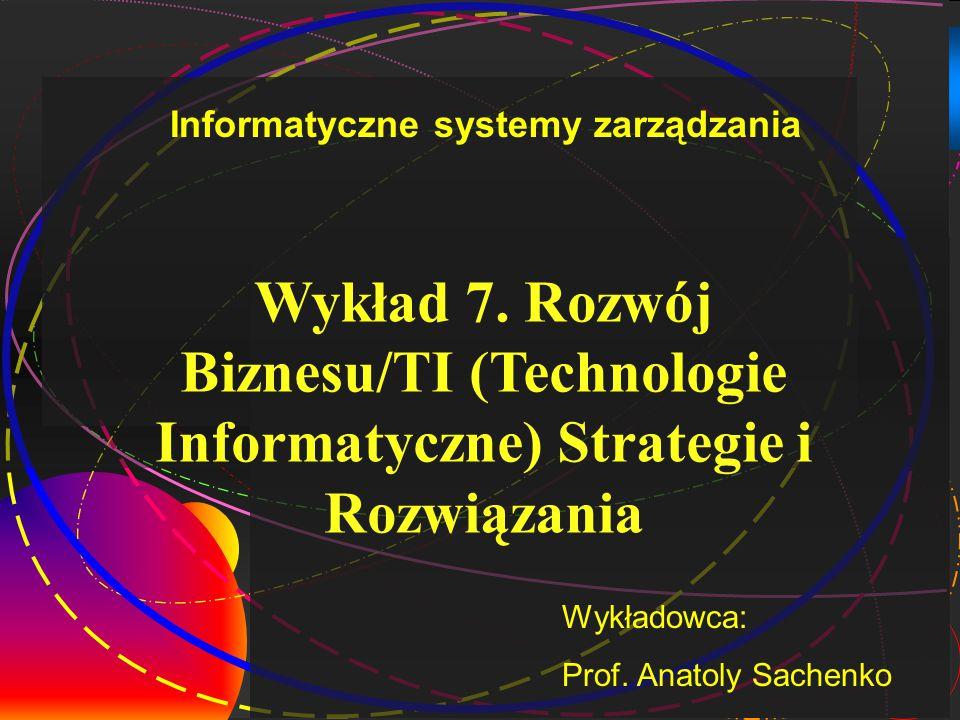 Wykład 7. Rozwój Biznesu/TI (Technologie Informatyczne) Strategie i Rozwiązania