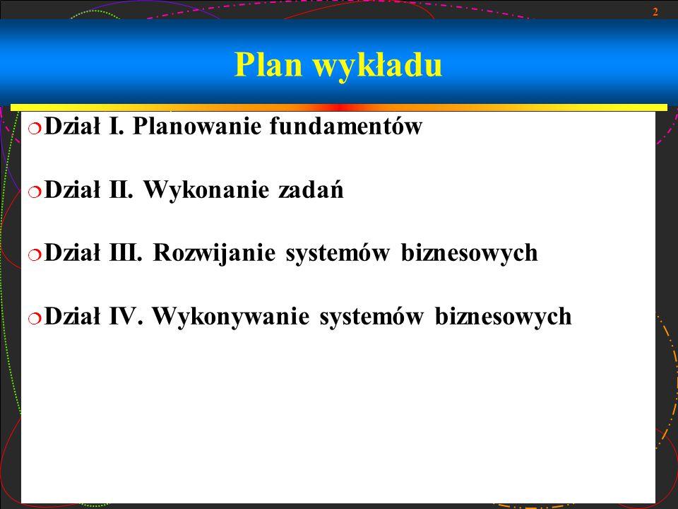 Plan wykładu Dział I. Planowanie fundamentów Dział II. Wykonanie zadań