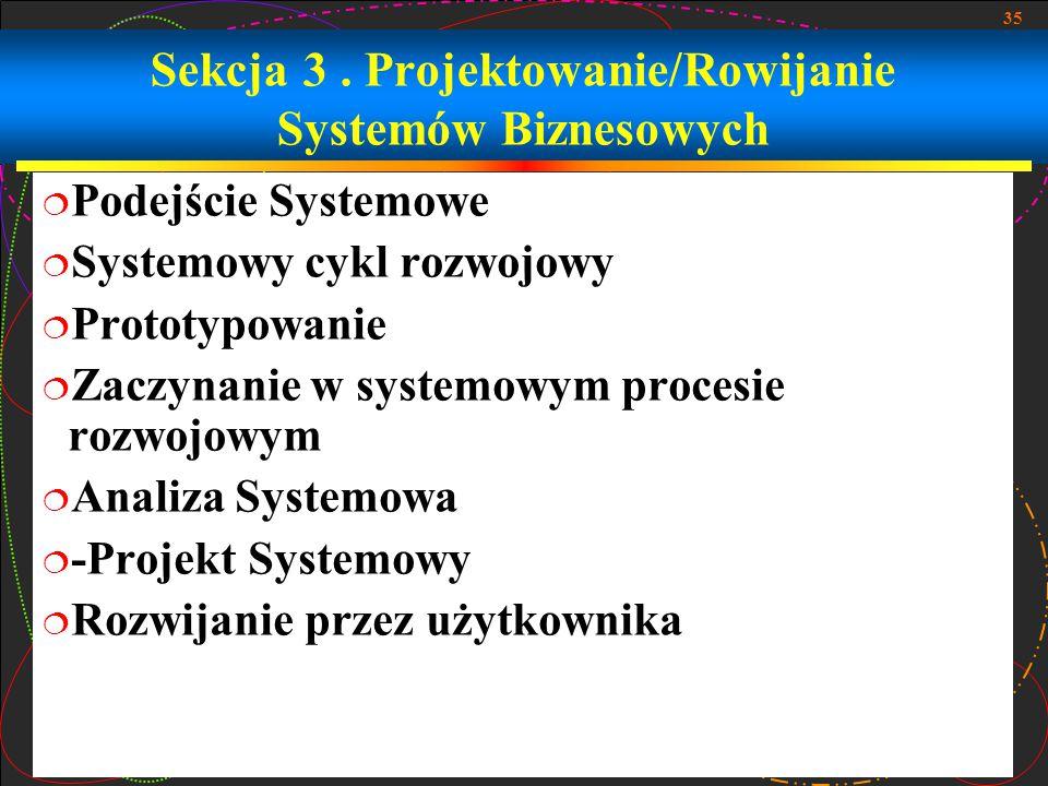 Sekcja 3 . Projektowanie/Rowijanie Systemów Biznesowych