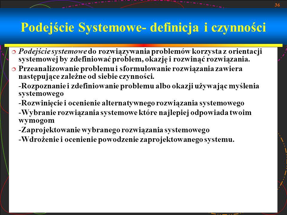 Podejście Systemowe- definicja i czynności