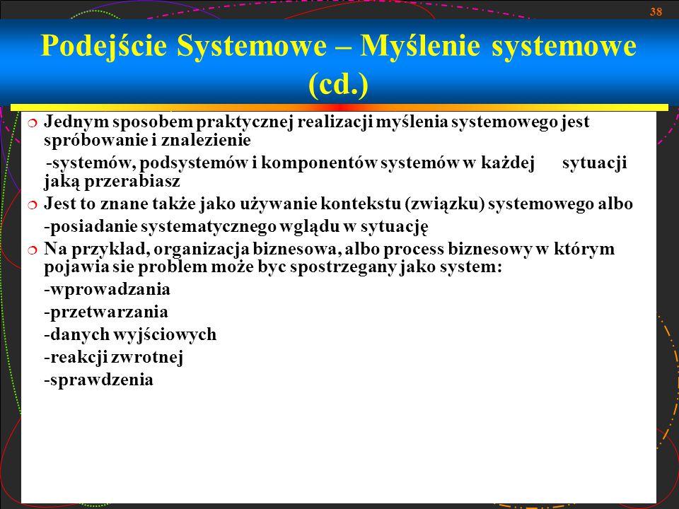 Podejście Systemowe – Myślenie systemowe (cd.)