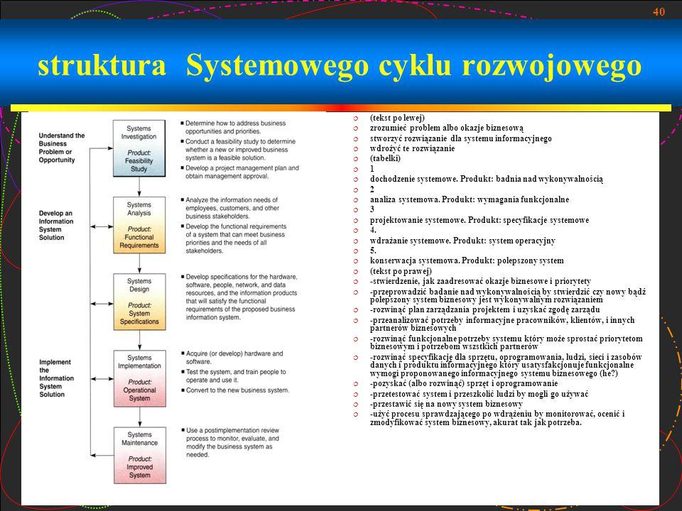 struktura Systemowego cyklu rozwojowego