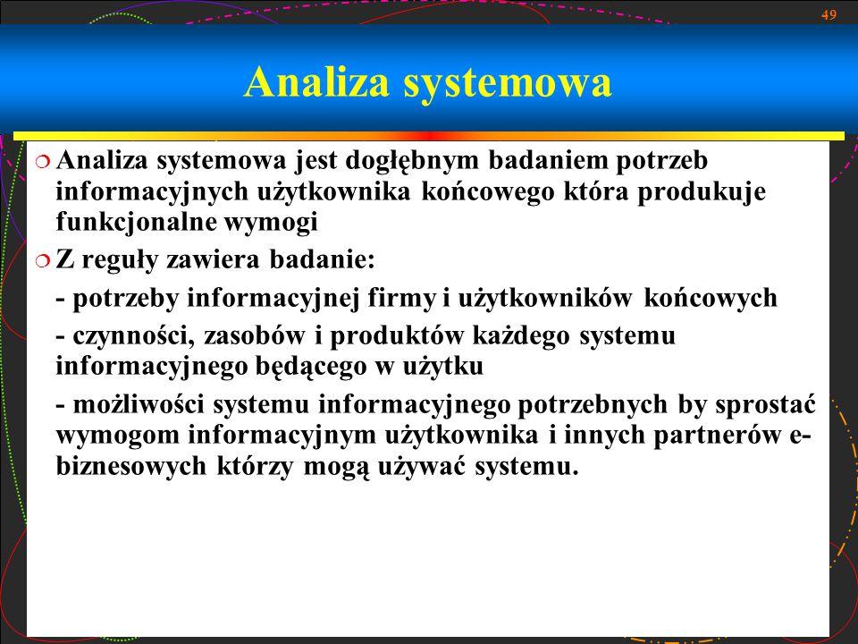 Analiza systemowa Analiza systemowa jest dogłębnym badaniem potrzeb informacyjnych użytkownika końcowego która produkuje funkcjonalne wymogi.