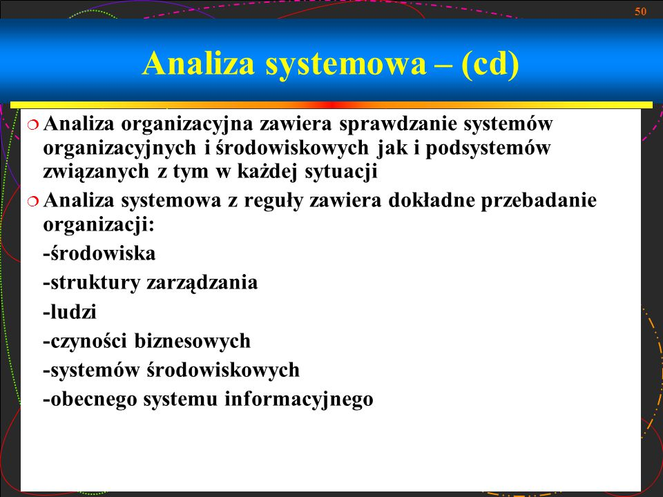 Analiza systemowa – (cd)