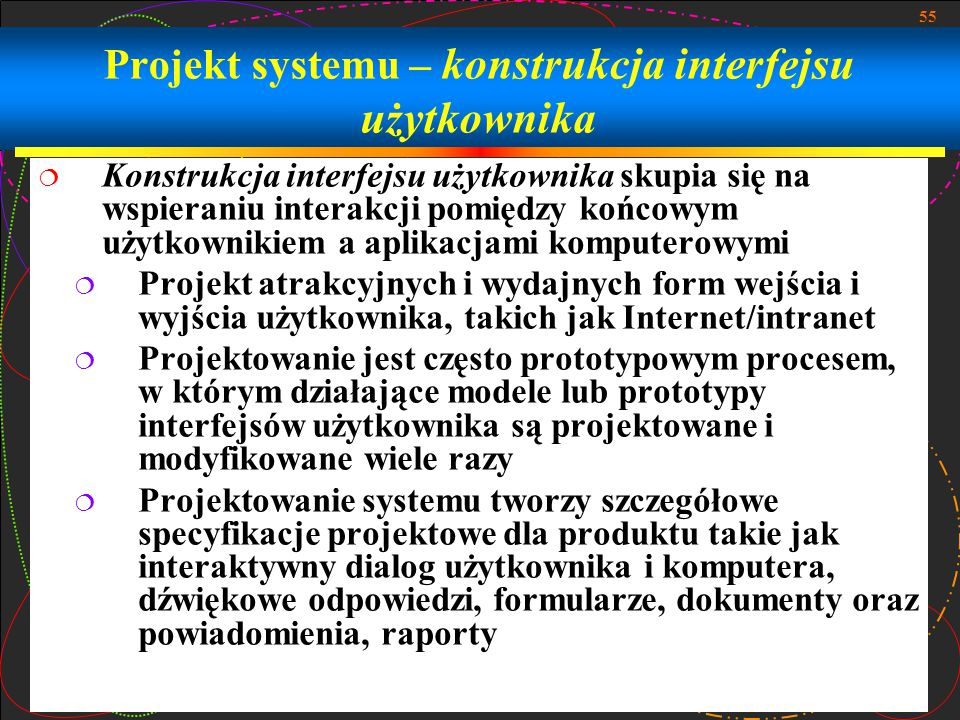 Projekt systemu – konstrukcja interfejsu użytkownika