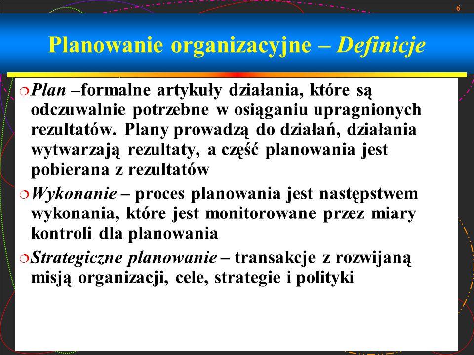 Planowanie organizacyjne – Definicje