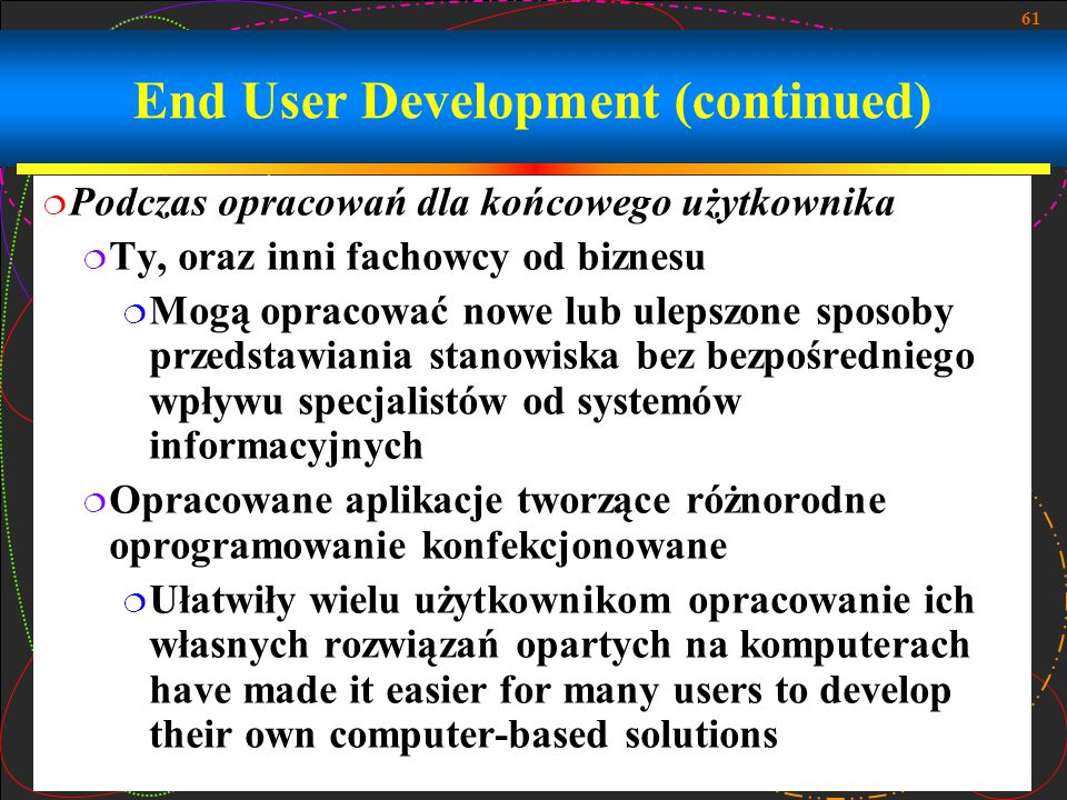 End User Development (continued)
