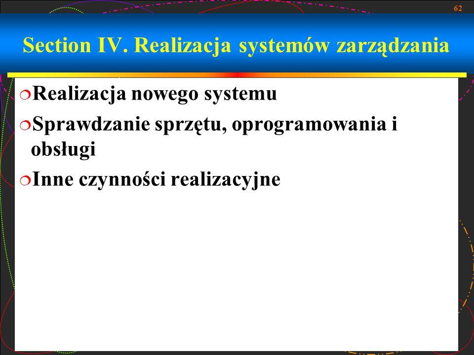 Section IV. Realizacja systemów zarządzania
