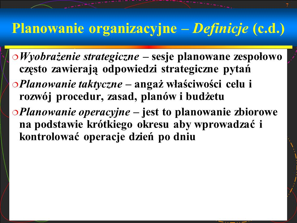 Planowanie organizacyjne – Definicje (c.d.)