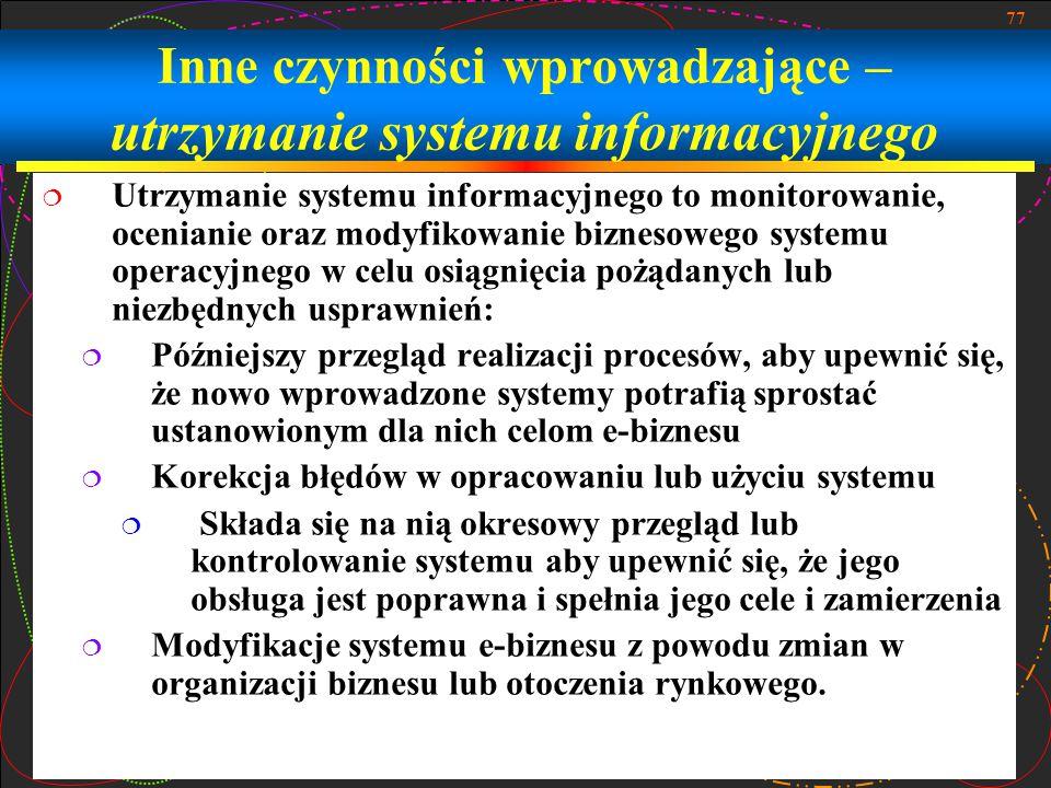 Inne czynności wprowadzające – utrzymanie systemu informacyjnego