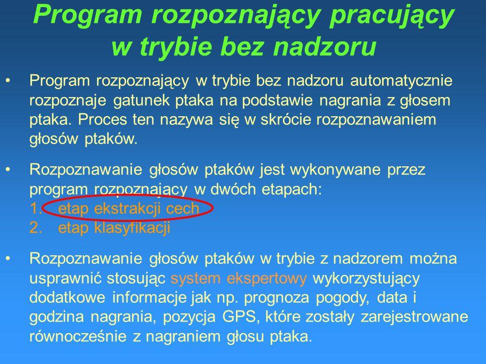 Program rozpoznający pracujący w trybie bez nadzoru