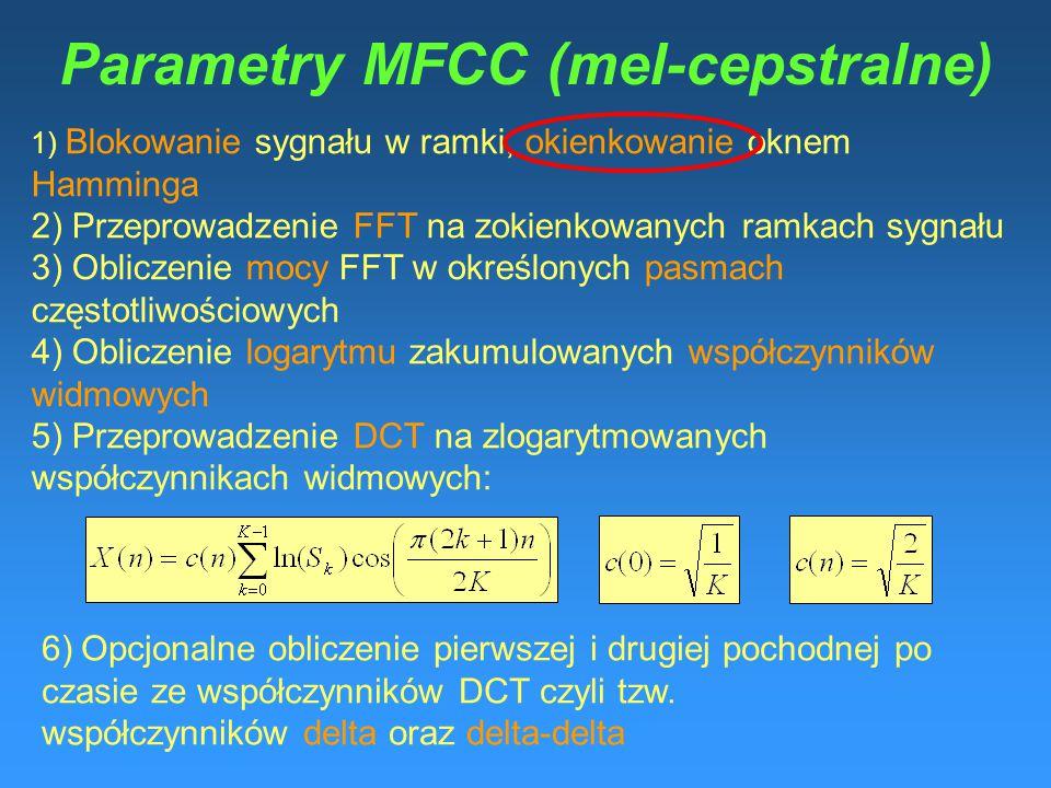 Parametry MFCC (mel-cepstralne)