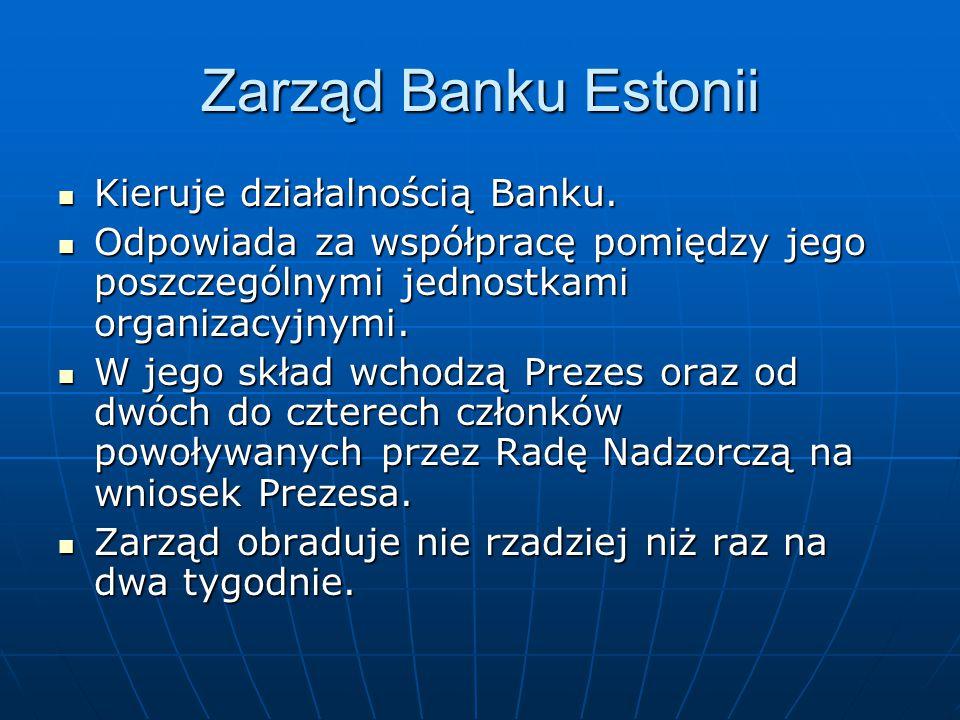Zarząd Banku Estonii Kieruje działalnością Banku.