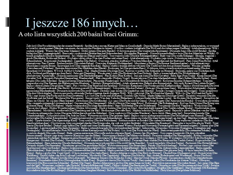 I jeszcze 186 innych… A oto lista wszystkich 200 baśni braci Grimm: