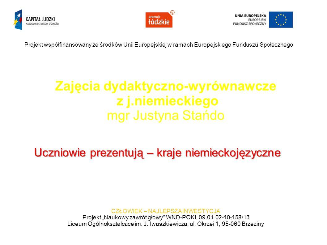 Zajęcia dydaktyczno-wyrównawcze z j.niemieckiego mgr Justyna Stańdo