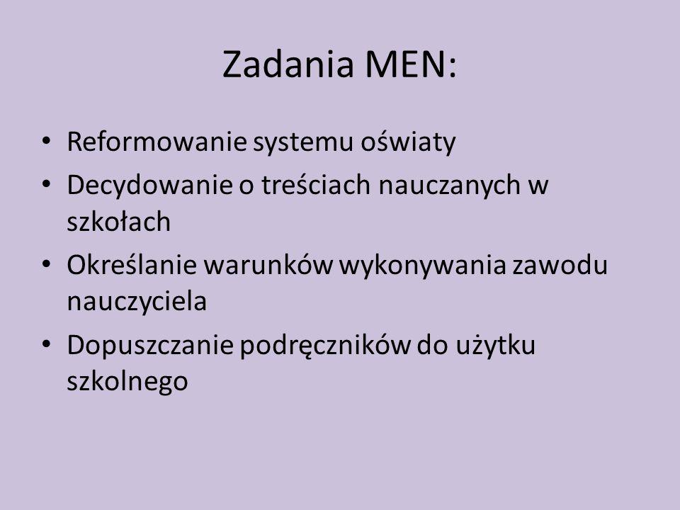 Zadania MEN: Reformowanie systemu oświaty