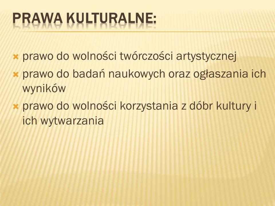 prawa kulturalne: prawo do wolności twórczości artystycznej
