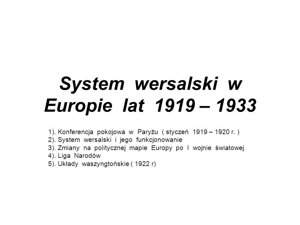 System wersalski w Europie lat 1919 – 1933