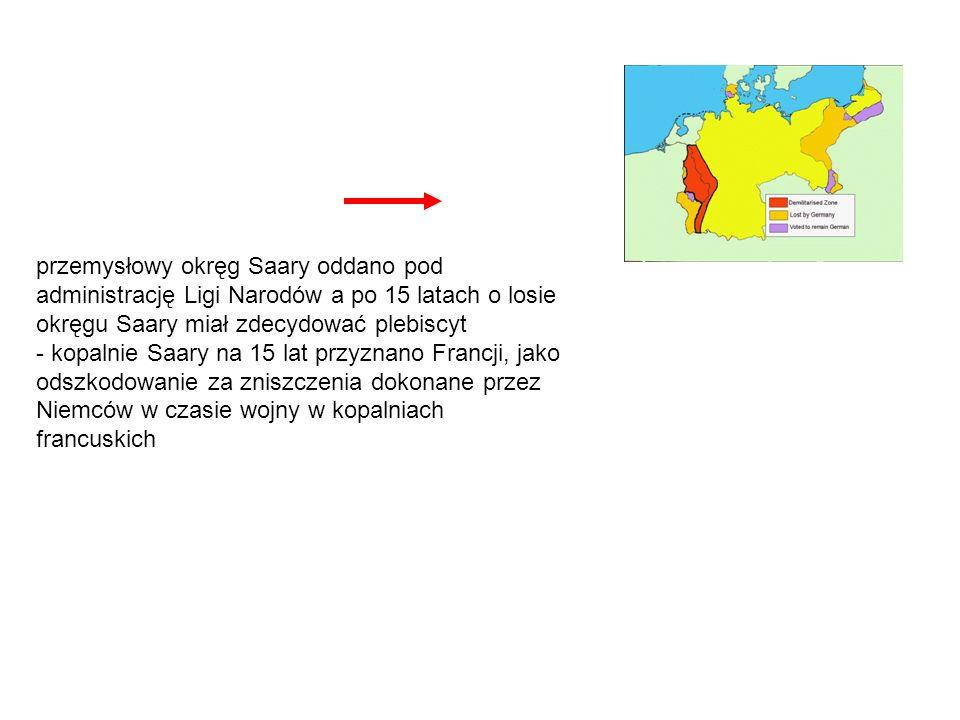 przemysłowy okręg Saary oddano pod administrację Ligi Narodów a po 15 latach o losie okręgu Saary miał zdecydować plebiscyt - kopalnie Saary na 15 lat przyznano Francji, jako odszkodowanie za zniszczenia dokonane przez Niemców w czasie wojny w kopalniach francuskich