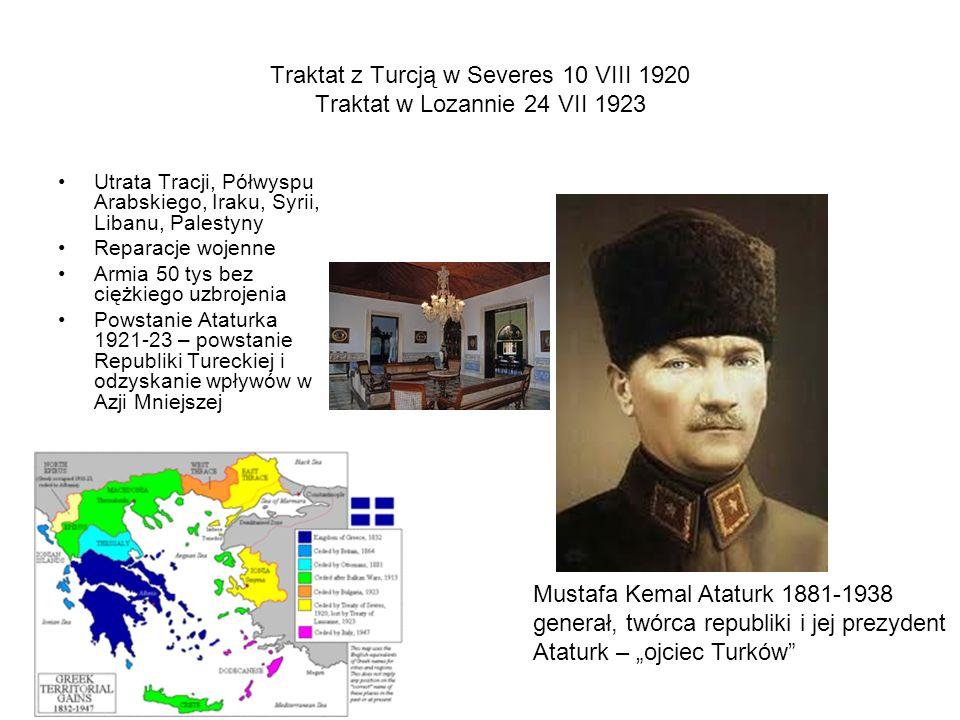 Traktat z Turcją w Severes 10 VIII 1920 Traktat w Lozannie 24 VII 1923