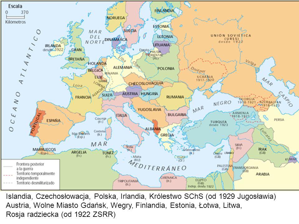 Islandia, Czechosłowacja, Polska, Irlandia, Królestwo SChS (od 1929 Jugosławia)