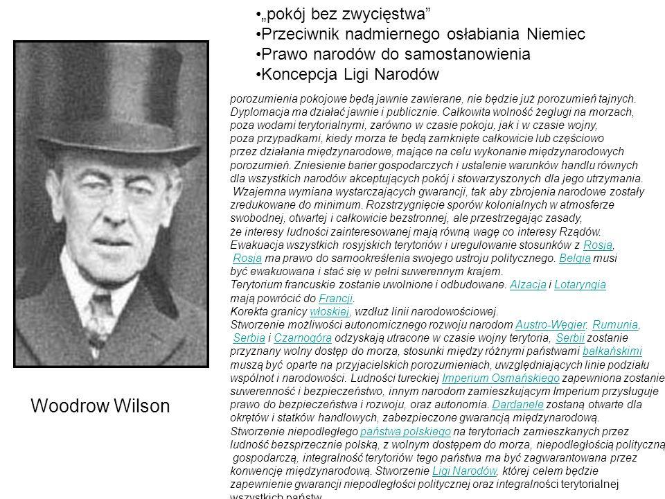 """Woodrow Wilson """"pokój bez zwycięstwa"""