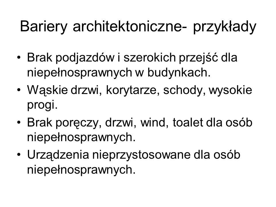 Bariery architektoniczne- przykłady