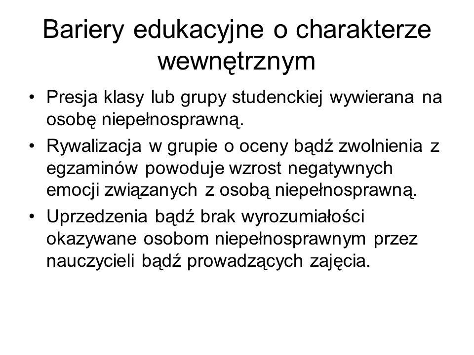 Bariery edukacyjne o charakterze wewnętrznym