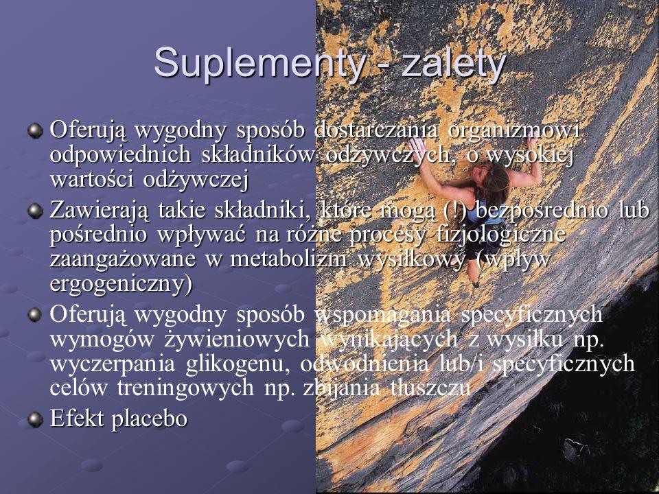 Suplementy - zaletyOferują wygodny sposób dostarczania organizmowi odpowiednich składników odżywczych, o wysokiej wartości odżywczej.
