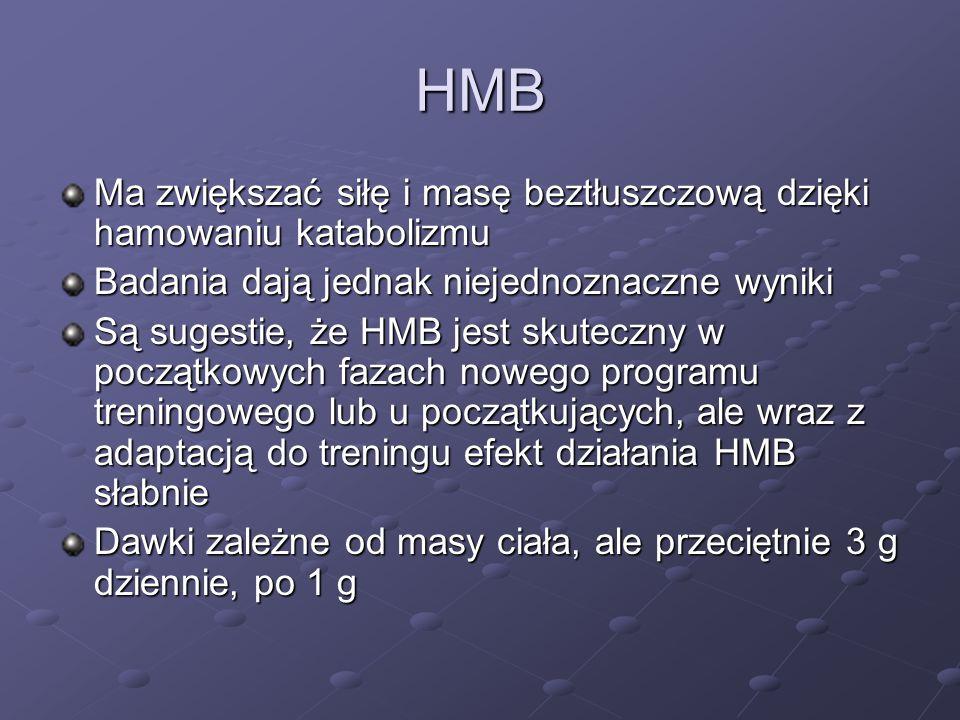 HMB Ma zwiększać siłę i masę beztłuszczową dzięki hamowaniu katabolizmu. Badania dają jednak niejednoznaczne wyniki.