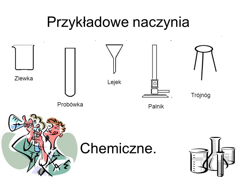 Przykładowe naczynia Zlewka Lejek Trójnóg Probówka Palnik Chemiczne.