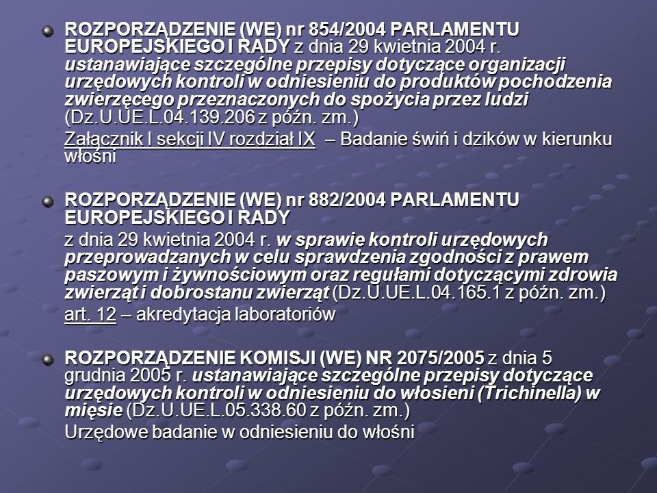 ROZPORZĄDZENIE (WE) nr 854/2004 PARLAMENTU EUROPEJSKIEGO I RADY z dnia 29 kwietnia 2004 r. ustanawiające szczególne przepisy dotyczące organizacji urzędowych kontroli w odniesieniu do produktów pochodzenia zwierzęcego przeznaczonych do spożycia przez ludzi (Dz.U.UE.L.04.139.206 z późn. zm.)