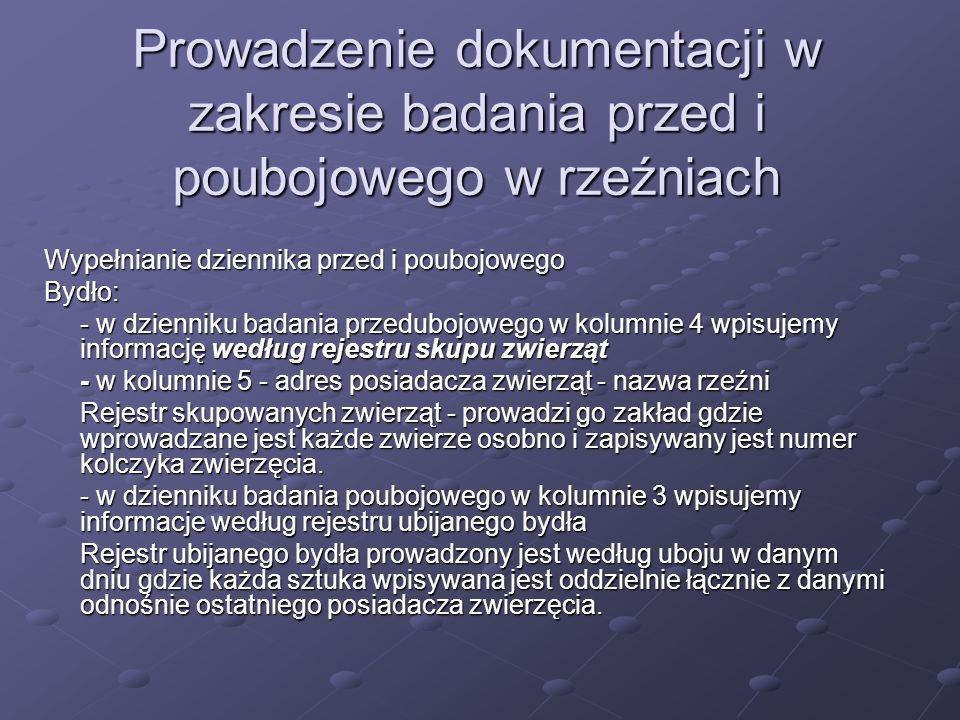 Prowadzenie dokumentacji w zakresie badania przed i poubojowego w rzeźniach