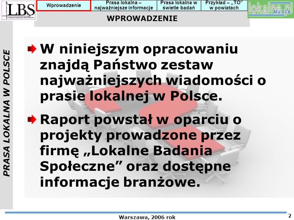 WPROWADZENIE W niniejszym opracowaniu znajdą Państwo zestaw najważniejszych wiadomości o prasie lokalnej w Polsce.
